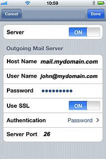 iPhone SMTP Server Advanced Settings